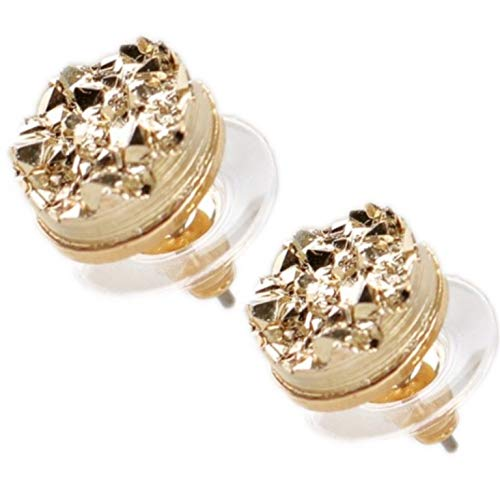 Druzy Stud Earrings Womens Faux Stone Fashion Simulated Round 2 Tone & Elegant Jewelry With Plastic ()
