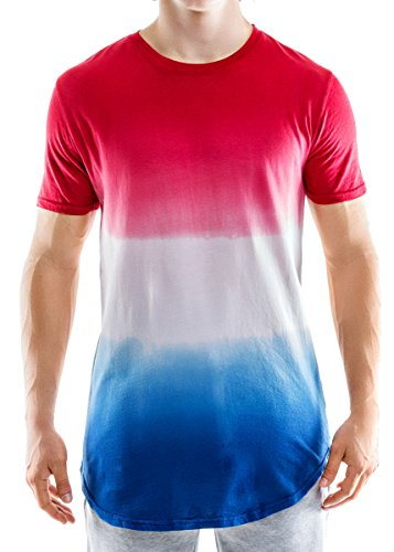 Entity Men's Scallop Hem Knit Shirt, Large, Dip Dye Red White Blue