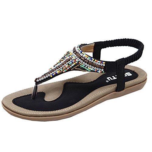 Summer Flat Sandals for Women,QueenMM Bohemia T-Strap Comfort Beach Flip Flops Walking Shoes Black