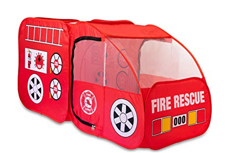 Fire Truck Tent for Kids, Toddlers, Boys & Girls - Red Fire Engine Pop Up Pretend Playhouse for Indoors & Outdoors - Quick Set Up, Weather Proof Fabric, Foldable & Spacious (Kids Playhouse Designs)
