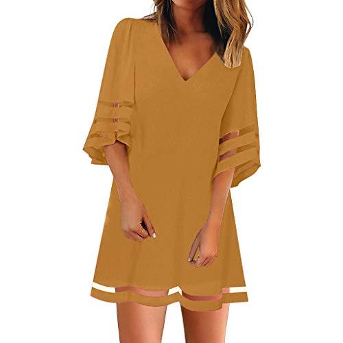 Women's V Neck Mesh Panel Blouse 3/4 Bell Sleeve Loose Top Shirt Dress Yellow
