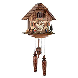 German Cuckoo Clock Quartz-movement Chalet-Style 9.84 inch - Authentic black forest cuckoo clock by Trenkle Uhren