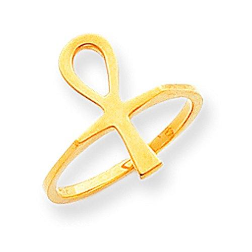 Dainty 14k Yellow Gold Egyptian Ankh Cross Ring (Size - Ankh Ring Gold