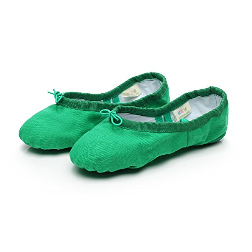 Baysa Frauen Leinwand Ballett Hausschuhe Split Sole Gymnastik Yoga Schuhe Grün