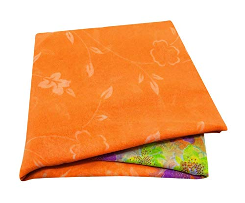 Peegli Indian Vintage Saree Orange Floral Printed Dress Georgette Silk Sewing Craft Fabric Sari