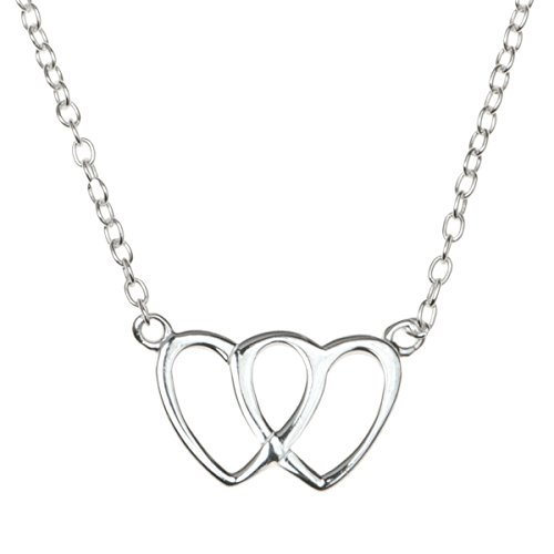 Tiffany Double Heart Tag (925 Sterling Silver Double Heart Love Charm Rolo Chain Adjustable Necklace 16