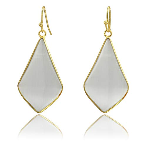 Top Plaza Womens Fashion Natural Gemstone Oval Rhombus Ear Hook Water Drop Ear Pendant Dangle Earring(Rhombus Gray Cat Eye - Earrings Gemstone Gray