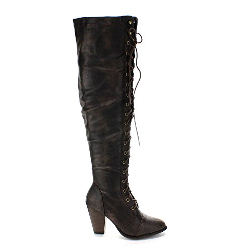 f0b0f7ca579 Forever Camila-48 Women's Chunky Heel Lace Up Over The Knee Brown ...