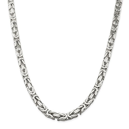 Q Gold Sterling Silver 8.25mm Square Byzantine Chain