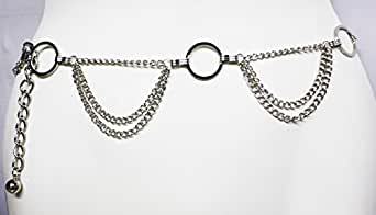 QUALITY ACCESSORY - Silver Tone Hoops Multi Strand Links Metal Cinch Waist Chain Belt