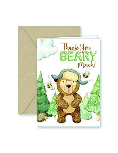 Paper Frenzy Bear Thank You Note Cards & Kraft Envelopes - 25 pack ()