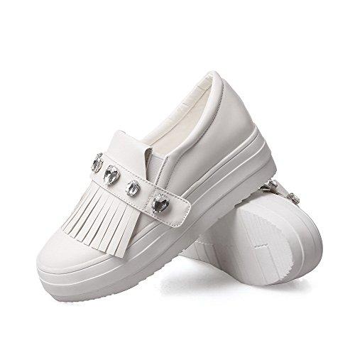AgooLar Damen Ziehen auf Rund Zehe Hoher Absatz Fransig Pumps Schuhe Weiß