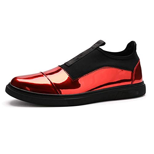 Scarpe Casual in Pelle da Uomo Fashion Fashion Scarpe Piatte Comfort Round Head Red