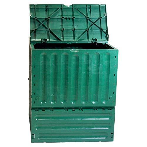 Kitchen Compost Bin Recycled Plastic 400 Liters Two Large Top Flaps Composting Outdoor Indoor Garden Yard Basket Plastic Home Composter & eBook BADA Shop
