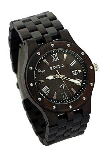 Ideashop Black Sandalwood Big Case Watches Luxury Movement QUARTZ Wood Watch With Date Calendar Unique Gift by...