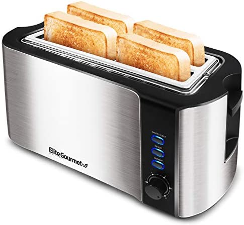 """Elite Gourmet ECT-3100 Maxi-Matic 4 Slice Long Toaster with Extra Wide 1.5"""" Slot for Bread, Bagels, Croissants, and Buns, Reheat, Cancel and Defrost, 6 Adjustable Toast Settings, Stainless Steel"""
