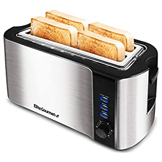 "Elite Gourmet ECT-3100 Maxi-Matic 4 Slice Long Toaster with Extra Wide 1.5"" Slot for Bread, Bagels, Croissants, and Buns, Reheat, Cancel and Defrost, 6 Adjustable Toast Settings, Stainless Steel"