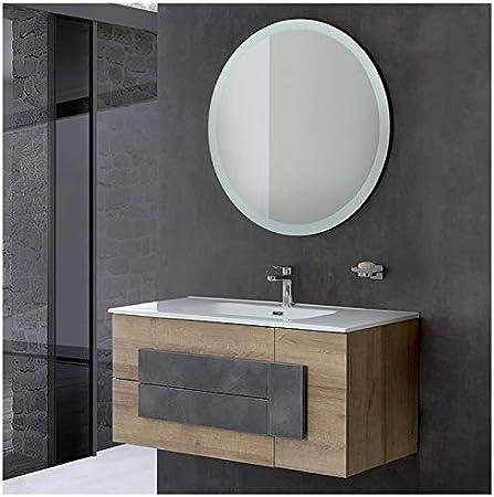 Arredo Bagno Effetto Legno.Mobile Bagno Sospeso Effetto Legno 80x47 Cm Con Specchio Tondo Amazon It Casa E Cucina