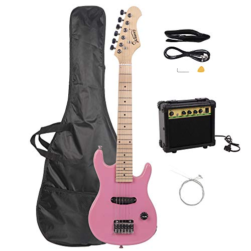 Glarry 30″ Mini Maple Fingerboard Electric Guitar for Kids with 10W Amp and Accessories Pack Guitar Bag (Pink)