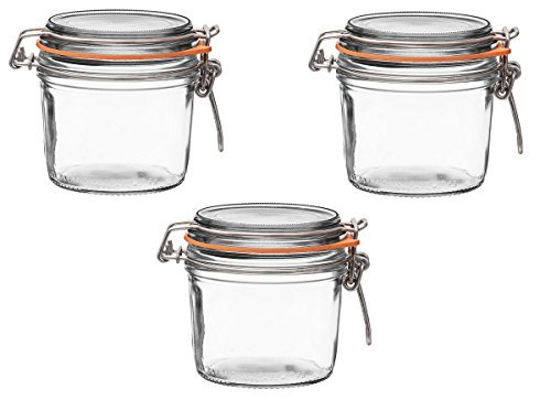 rrines Wide Mouth Glass Canning Jar with 85mm Gasket and Lid 12.25 Oz, 350 Grams (Pack of 3) ()