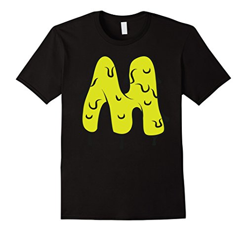 Mens Distorted Letter M First Name Easy Halloween Costume Shirt 2XL Black