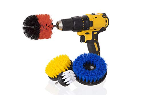 Power Scrub Complete 4 Piece Drill Brush Variety Pack -Cleaning Brush Drill Attachments - Time Saving Cleaning Kit - Great for Cleaning Floors, Brick, Pool Tile, Grout, Sinks, Bathroom & Kitchen