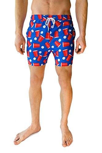 Cabana Bro Men's Swim Short - The National Pastimes American Swim Trunk, Extra Large
