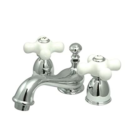 Porcelain Cross Handle Bathroom Sink Faucets