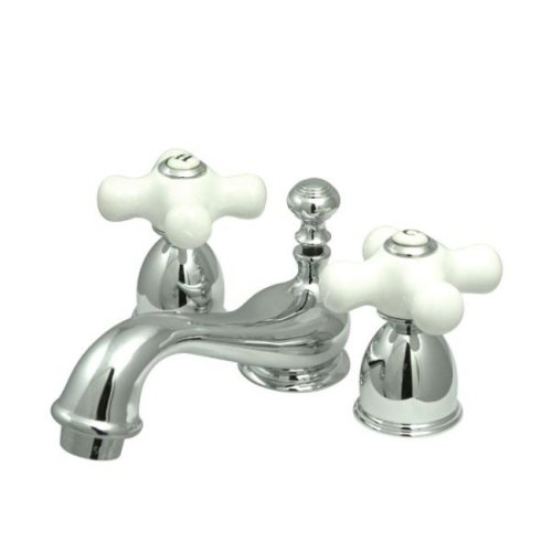 Kingston Brass KS3951PX Restoration Mini Widespread Lavatory Faucet with Porcelain Cross Handle, Polished Chrome