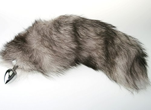 Silver Real Fur Fox Tail with Large Butt Plug for BDSM Bondage Fetish Cosplay by The Kink Factory USA by The Kink Factory (Image #1)