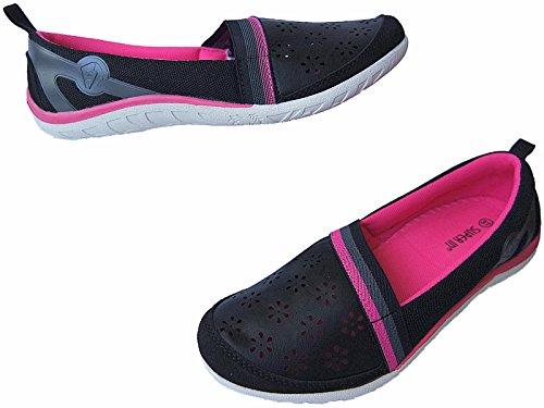 Damen Ballerina Schuhe Freizeit Damenschuhe gr.36-41 nr.6030 schwarz-fuchsia