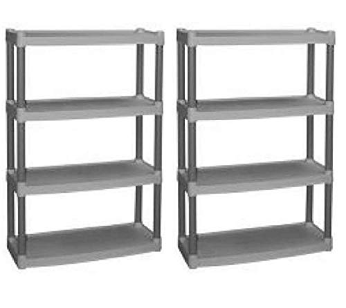 Plano 4-Shelf Heavy Duty Plastic Storage Unit, Light Taupe, Pack of 2 + Free Tablecloth