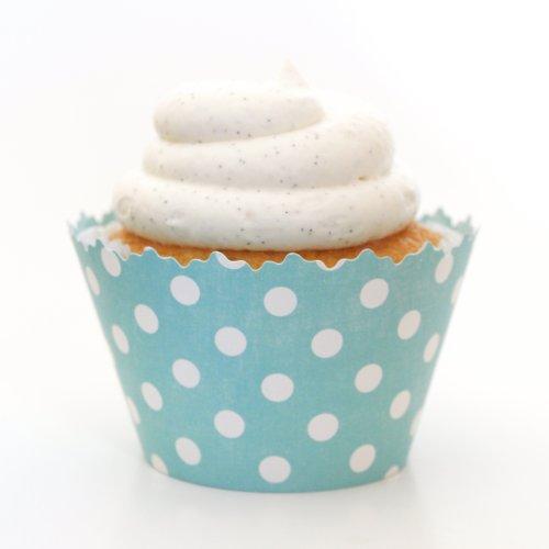 Cupcake Wrappers Polka Dots Adjustable - Set of 12 (Teal (Polka Dot Cupcake Liners)