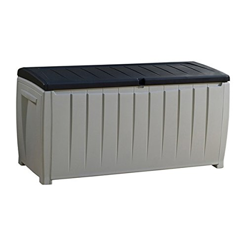 MD Group Outdoor Storage Box 90-Gallon Gray with Balck Lid Plastic Lockable Lid Patio Trunk by MD Group