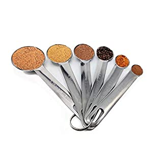 WAFJAMF Measuring Spoons,6 spoons for one set,18/8 Stainless Steel, for Measuring Dry and Liquid Ingredients
