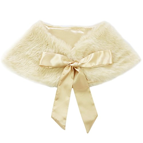 dPois Girls' Faux Fur Flower Dress Bolero Shrug Juniors Bridesmaid Wrap Shawl Bowknot Jacket Cloak Champagne One Size by dPois