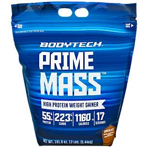 BodyTech Prime Mass High Protein Weight Gainer with 55 Grams of Protein per Serving to Support Muscle Growth Performance Blend of Creatine, Glutamine BCAA
