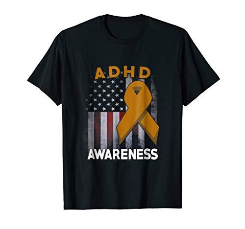 ADHD Falg USA Organe Ribbon ADHD Awareness Shirt for $<!--$18.95-->