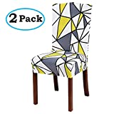 misaya Stretch Spandex Dining Room Chair Cover Removable Washable Chair Protector Flowers Painting Stool Seat Slipcover Set of 2, Triangle