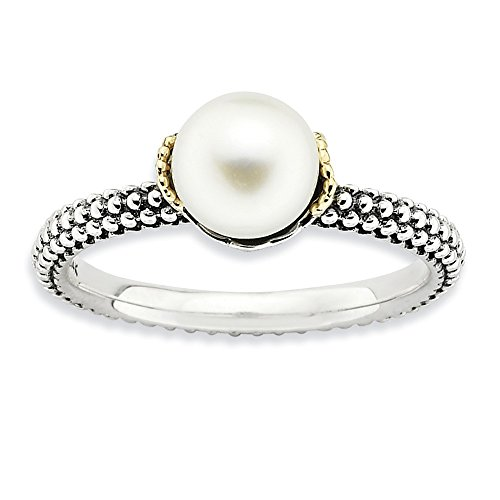 White Freshwater Cultured Pearl, Sterling Silver & 14k Yellow Gold Accent Ring (6.0-6.5mm), Size 5 (Sterling Pearl Freshwater Mounting Silver)