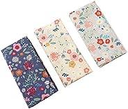 Houlife 6/12 PCs 100% 42S Cotton Floral Handkerchief Elegant Hankies for Women, 13.4×13.4&#