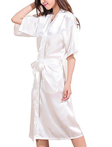 Classiche Vestaglia Stampa Bridesmaid Notte Mezza Con V Camice Sposa Manica Elegante Lunga Scollo Unique Bianca Vestaglie Lettere Cintura Di Da Kimono Donna Htq0Ep