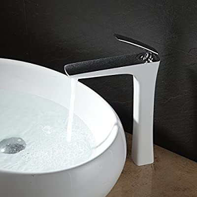 Fapully 100373CW Single Handle One Hole Tall Touch on Bathroom Sink Vanity Faucet White Painting and Chrome