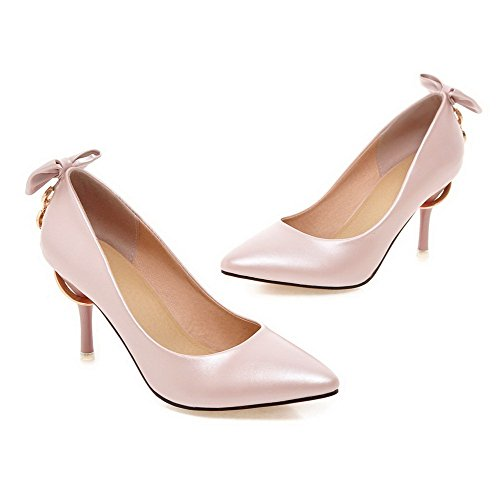AmoonyFashion Womens Pu Spikes Stilettos Pointed Closed Toe Solid Pull On Pumps-Shoes Pink wOp1GC