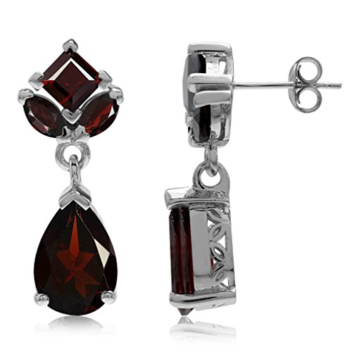 (9.3ct. Natural Garnet White Gold Plated 925 Sterling Silver Drop Dangle Post Earrings)