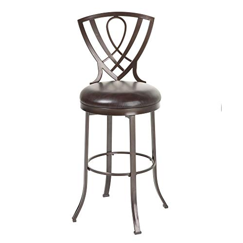 Leggett & Platt Lincoln Swivel Seat Bar Stool with Brown Crystal Finished Metal Frame and Chocolate Faux Leather Upholstery, 30-Inch Seat Height