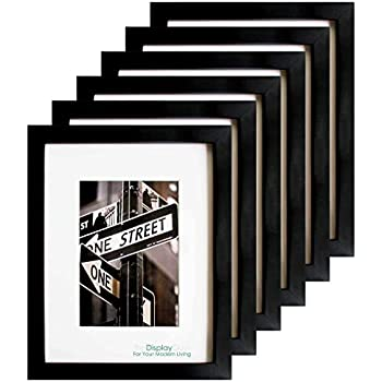 The Display Guys 16x20 Matte Black Solid Pine Wood Picture Frame w. 2 Removable Collage Mat Boards & Tempered Glass, matted for 11x14 & (4X) 5x7 Photos Value 6-Pack