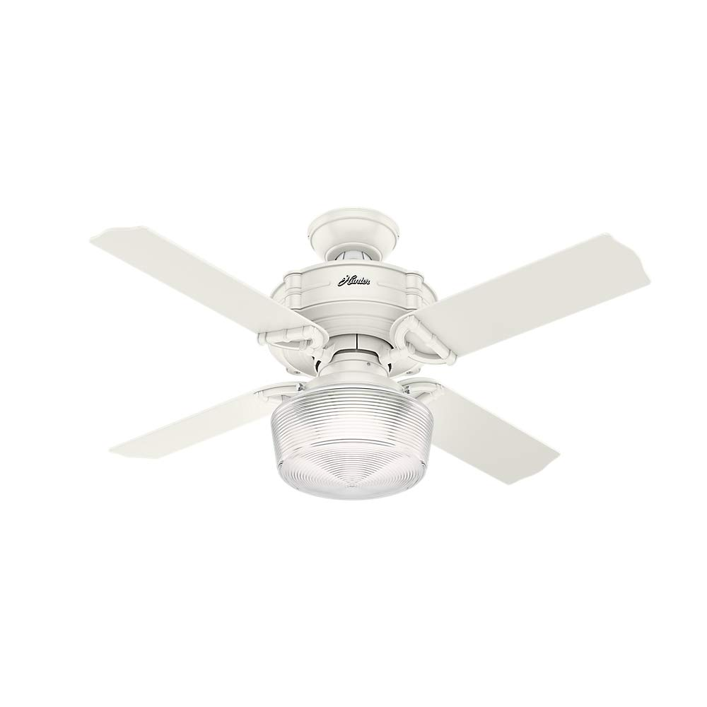 Hunter Indoor Ceiling Fan with light and remote control – Brunswick 44 inch, White, 52260