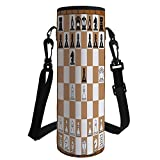 Water Bottle Sleeve Neoprene Bottle Cover,Board Game,Opening Position on Chessboard Letters Numbers Squares Pieces Print,Brown Light Brown Black,Fit for Most of Water Bottles