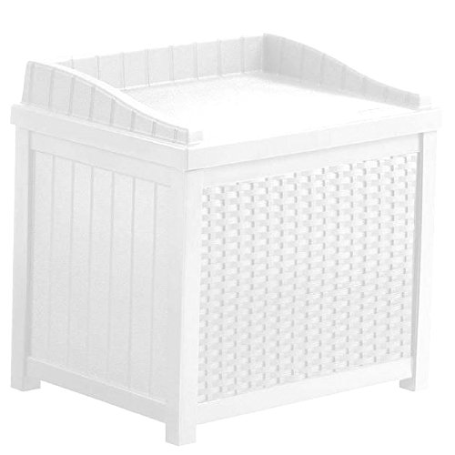 Porch Storage Box 22 Gallon White Patio Lidded Seat Resin Rattan Outdoor Pool Towels Cushion Small Container Yard Garden Hose Waterproof Case Organizer Decorative & eBook By JEFSHOP. by GHY